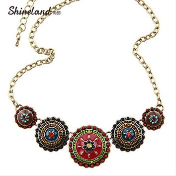 Collares Fashion 2017 Hot Sale Women Bohemia Style Enamel Beads Flowers Choker Chains Statement Necklace Ethnic Vintage Jewelry