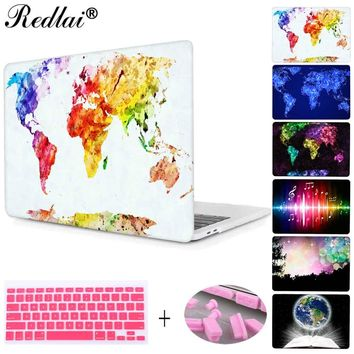 "For Macbook 12"" Pro 13 15 with Retina Case World Map Print Plactis Hard Case For New Macbook Pro 13 15 Touch bar Air 11 13 Cover"
