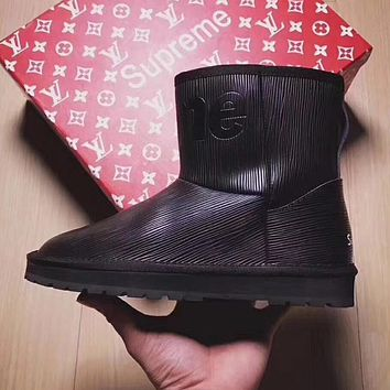 Louis vuitton x Supreme x UGG Women Leather Winter Wool Snow Boots Shoes