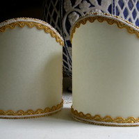 Pair of Wall Sconce Clip-On Shield Shades Parchment Chandelier Mini Lampshade - Handmade in Italy