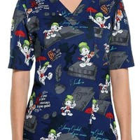Buy Cherokee Tooniforms Unisex Jiminy Cricket Printed Scrub Top for $22.45