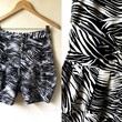 Summer Sale: zebra high waist bloomers (28 inches), black and white bermuda shorts
