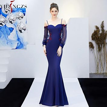 Backless Appliques Beaded Long Evening Strap Sexy Dress