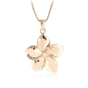 14K Pink Gold Plumeria Pendant with Clear CZ(XS, S, M, L)