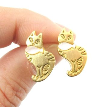 Kitty Cat and Fish Shaped Animal Themed Stud Earrings in Gold