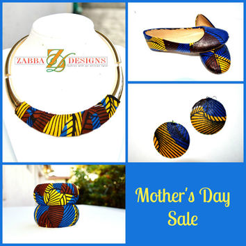 Mother's Day African Ankara  Jewelry And Flats Gift Set - Yellow And Blue Bridesmaids Flat And Jewelry Gift Set - Mother's Day Gift Set