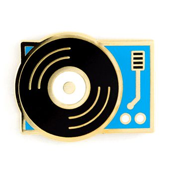 Record Player Enamel Pin in Blue, Black and Gold