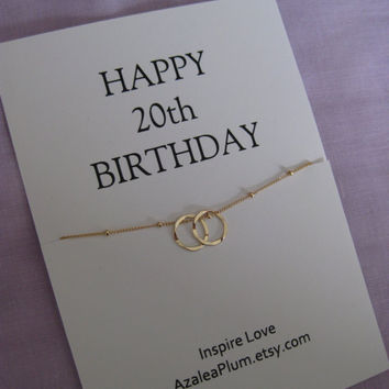 20th Birthday Necklace. Gift for Daughter 20th Birthday. Gold Eternity Circle Necklace. Niece 20th Birthday Gift. Best Friend 20th Gift.
