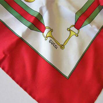 "Vintage Gucci Equestrian Silk Scarf, Red, White, Green, Made in Italy, Horse Tack, 30"" x 30"", hand rolled hem, gift idea"