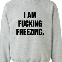 I am F*cking Freezing  Sweater Christmas Winter Funny Crewneck Sweatshirt Shirt Mens Ladies Womens Santa Merry Christmas Xmas DT-641s