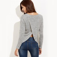 Long Sleeve  Knit Split Back Casual T-shirt