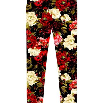 Put Your Crown On Lucy Black Floral Print Leggings - Women