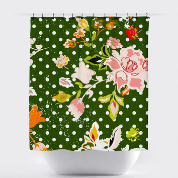 Green Shabby Chic Floral Shower Curtain