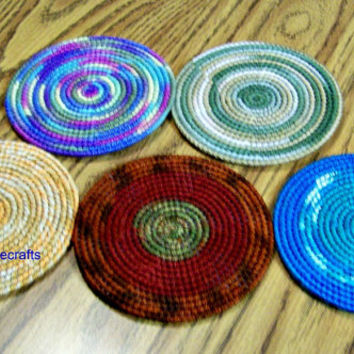 Dark Colored Coasters, Handmade Drink Coasters, Glass Coasters, Table Protectors, Drink Placemat, Summer, Round