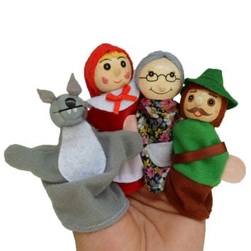 2016 New 4PCS/Set Little Red Riding Hood Christmas Animal Finger Puppet toy Educational Toys Storytelling Doll Free Shipping