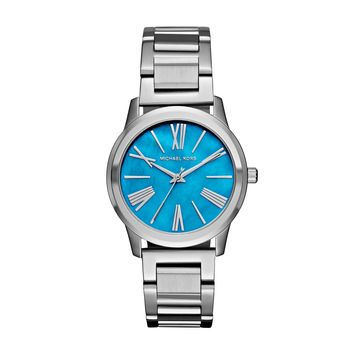 Michael Kors Hartman Stainless Steel Ladies Watch with Ocean Blue Mother of Pearl Dial