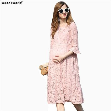 WEONEWORLD Spring Summer Lace Maternity Dresses Clothing for Pregnancy Clothes for Pregnant Women Gravida Wear 2017 New Fashion