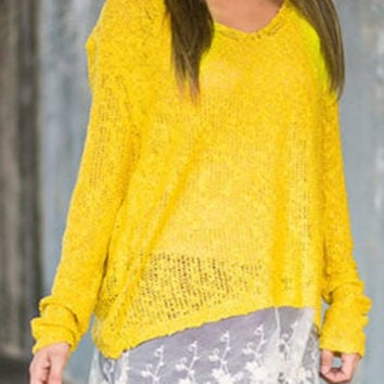 V-Neck Long Sleeve Lace Hem Sweater