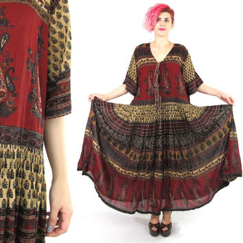 90s Indian Cotton Dress Ethnic Print Hippie Boho Maxi Dress Festival Caftan Plus Size Gauze Cotton Full Skirt Paisley Folk Summer Dress (XL)