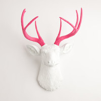 Valentines Day Decor - Faux Taxidermy - The Boris - White W/ Pink Antlers Resin Deer Head- Stag Resin White Faux Taxidermy