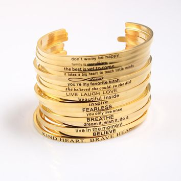 """Chasing My Dreams"" Open Cuff Bracelet Inspirational Bangle Mantra Bracelet"