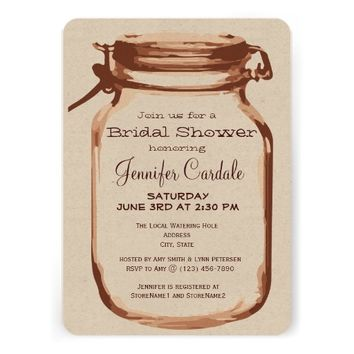 Rustic Country Mason Jar Bridal Shower Invitations