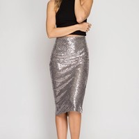 Silver Midi Sequin Pencil Skirt