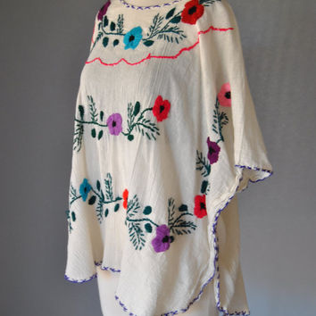 Vintage Gauze Top 70s Embroidered Floral Poncho Mexican Floral BOHO Cape S M L XL