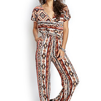 FOREVER 21 Southwestern Print Surplice Jumpsuit Cream/Coral