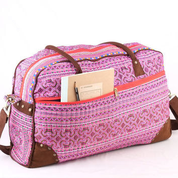 Hmong Weekender Bag, Overnight Bag Ethnic Cross Stitched/ Embrodered Boho, Gypsy Style