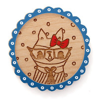 miss raccoon wooden brooch with blue frame