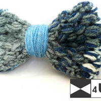 Grey Blue Hand Knitted Bow Tie Crochet Bow Tie Dickie Bow Bowtie Wedding Bow Tie Groomsmen Bow Tie Man Men Lady Gift Fancy BowTie4You Unique
