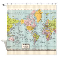 Colorful Vintage World Map Shower Curtain - Historical map - Home Decor - Bathroom - travel, blue, green pastel