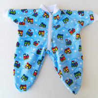 """Bitty Baby Doll Clothes Twin Boy or Baby Doll 15"""" American Girl Blue Train Print Flannel Zip Up Feetie Pajamas Pjs Sleeper"""