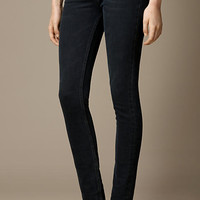 Skinny Fit High-Rise Washed Indigo Jeans