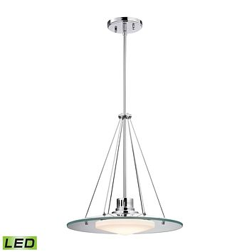 1 Light LED Pendant in Chrome and Opal Glass