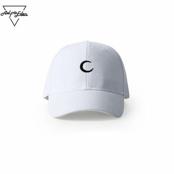 Men Joggers Fitness Snap back Caps Simple Moon Fine Embroidery Baseball Cap Polo Hat C