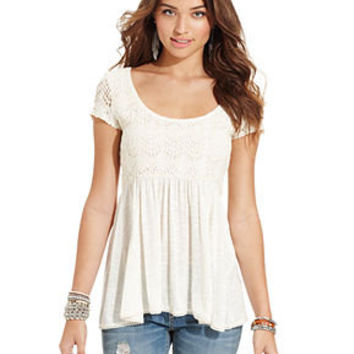 American Rag Juniors Top, Short Sleeve Crochet-Knit Babydoll - Juniors Tops - Macy's