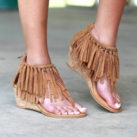 Not Rated: Sybil Fringe Wedge Sandals {Tan}