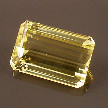 Yellow Heliodor Beryl: 7.34ct Yellow Emerald Shape Gemstone, Natural Hand Made Faceted Gem, Loose Precious Beryl Mineral, AAA Supply 20214