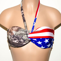 PADDED Tie Back American Flag and Camo Bandeau, Adjustable Tie Back Swimwear Bikini Top, Twisted Top Bathing Suits, Spandex Bandeau Bikini