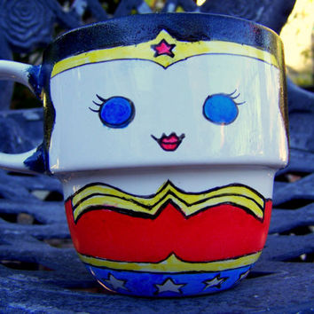 Hand Painted Wonder Woman Stackable Mug by TheCornerGeekery
