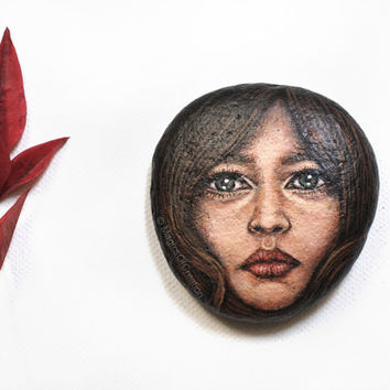 Original portrait painting on river stone, OOAK original painting on rock, original pebble art