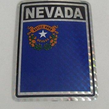 "Nevada Flag Reflective Sticker 3""x4"" Inches Adhesive Car Bumper Decal"
