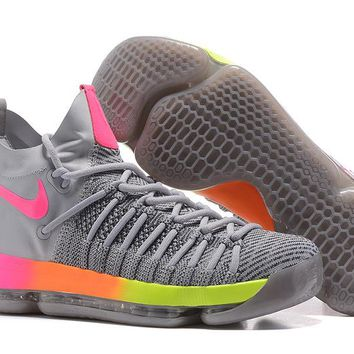 VAWA Nike Men's Durant Zoom KD 9 Flyknit Mid-High Basketball Shoes Grey Pink