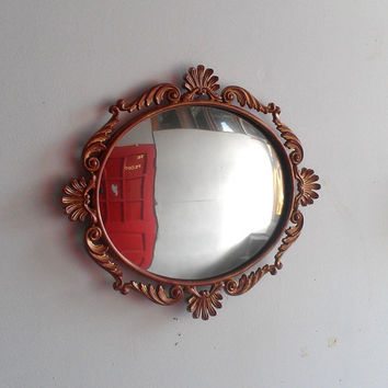 Convex Wall Mirror in Vintage Oval Frame 15 by 13 Inches
