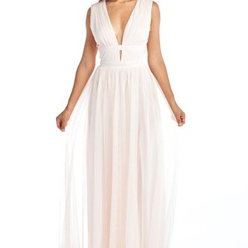 Love Poem Angel Wing Pink V-Neck Tulle Long Dress