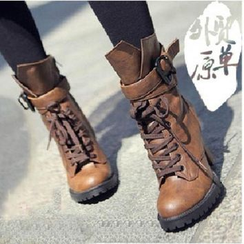 DCCKIX3 2015 Winter Women Genuine leather high heels motorcycle boots ankle boots for women chunky platform black brown = 1946735364