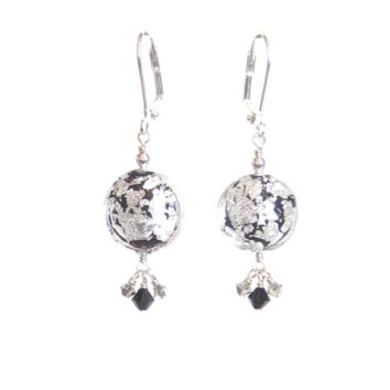 Murano Glass Black Disc Crystal Cluster Silver Earrings
