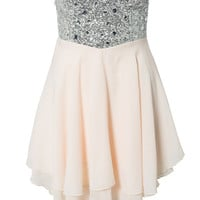 JEWELLED BUSTIER CHIFFON DRESS